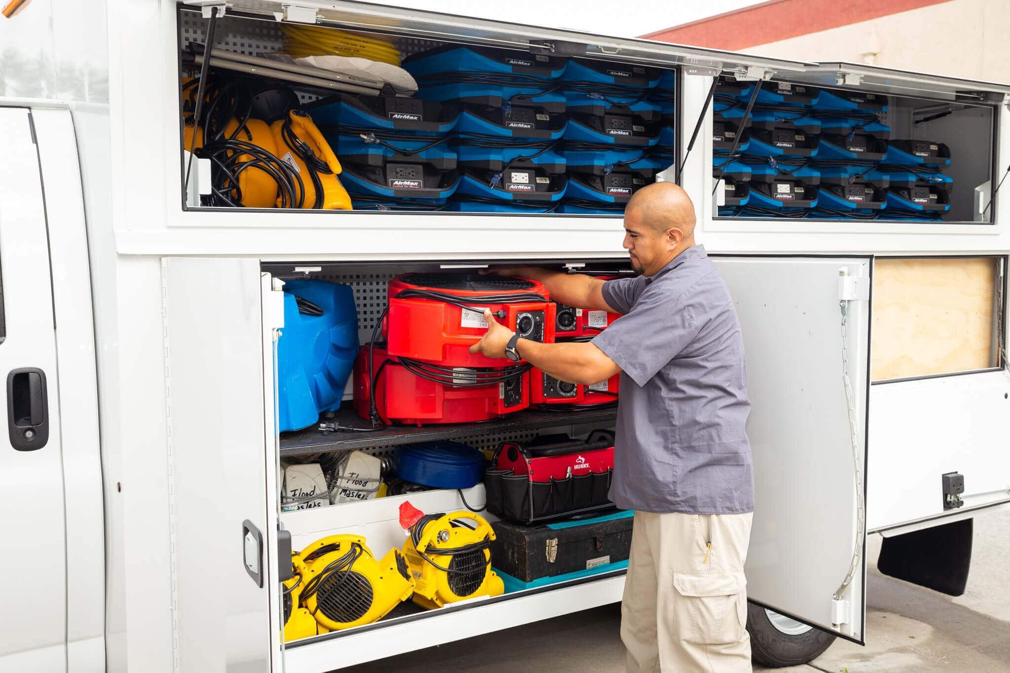 Water damage restoration cleanup equipment