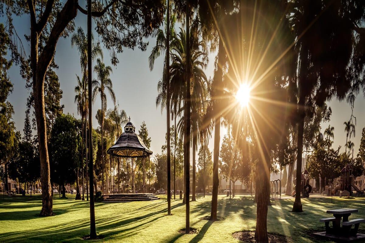sunrise at spreckles park in coronado, ca