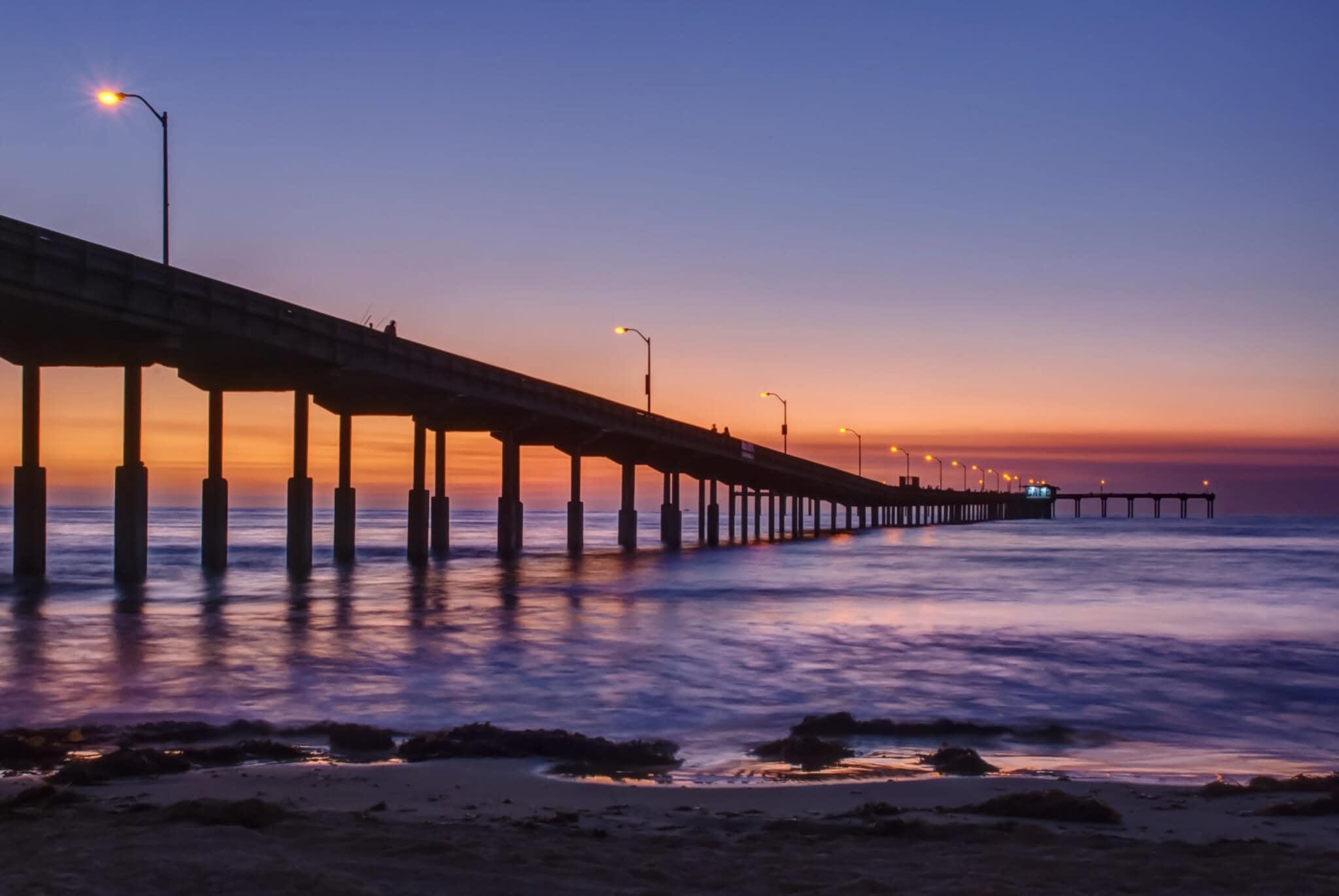 Ocean Beach, CA pier at sunset